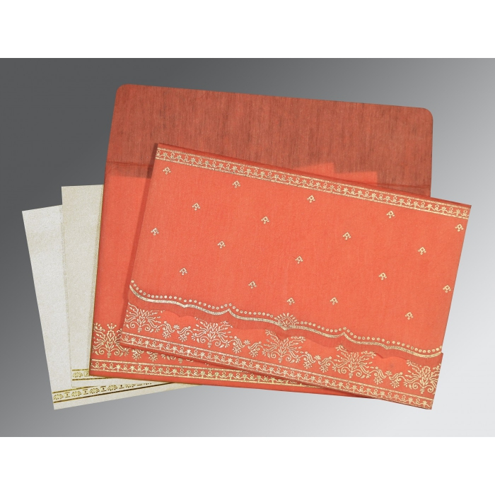 Orange Wooly Foil Stamped Wedding Invitation : CW-8241K - IndianWeddingCards