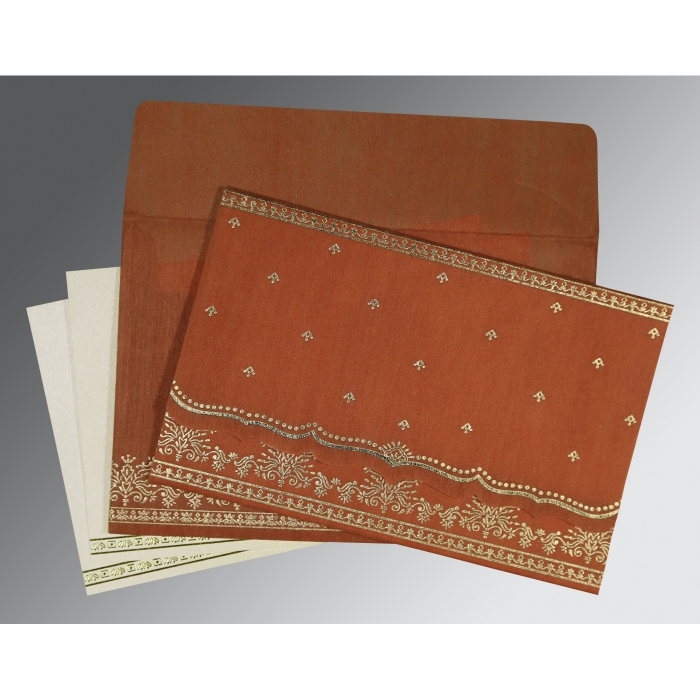 Orange Wooly Foil Stamped Wedding Invitation : CW-8241M - IndianWeddingCards