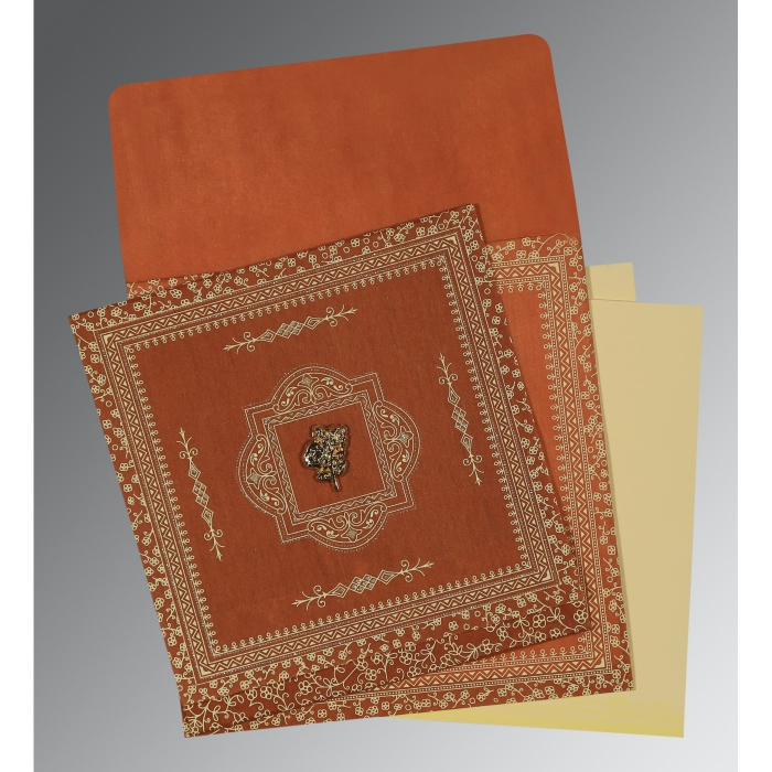 Orange Wooly Screen Printed Wedding Card : CC-1050 - IndianWeddingCards