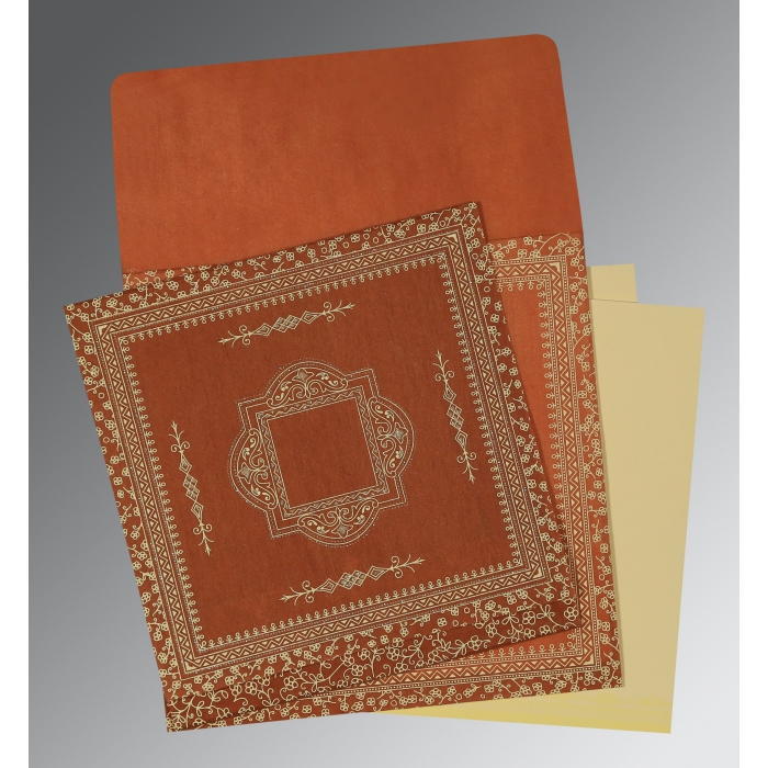 Orange Wooly Screen Printed Wedding Card : CD-1050 - IndianWeddingCards