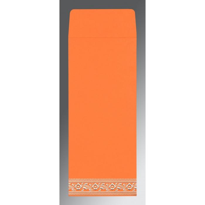 Orange Wooly Screen Printed Wedding Invitation : CI-8220F - IndianWeddingCards