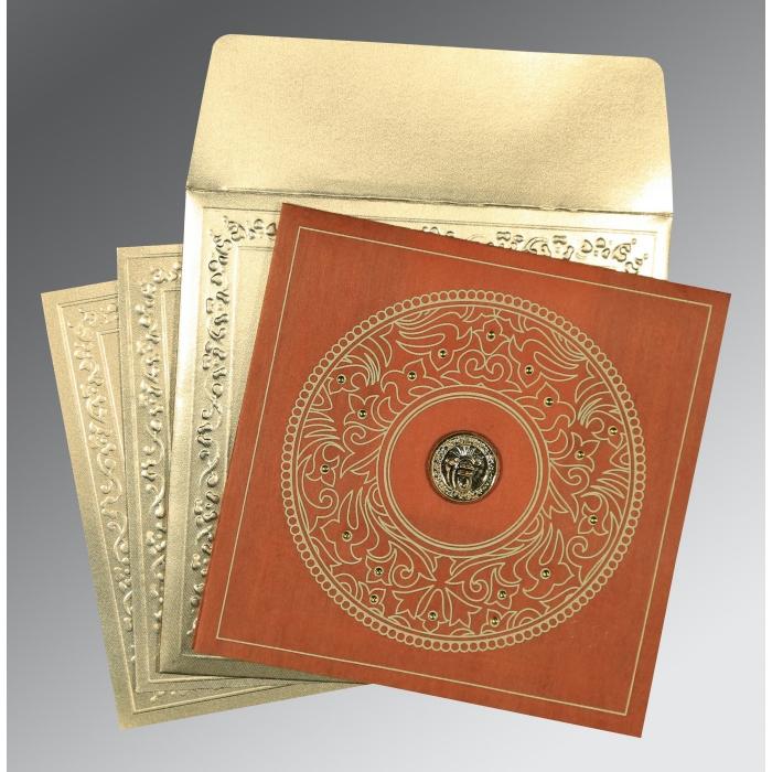 Orange Wooly Screen Printed Wedding Card : CS-8214E - IndianWeddingCards