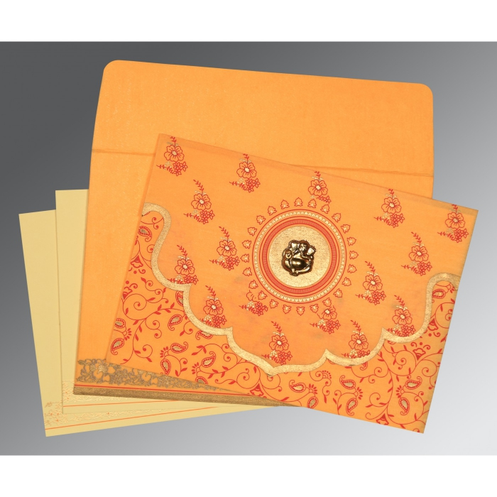 Orange Wooly Screen Printed Wedding Invitation : CW-8207J - IndianWeddingCards