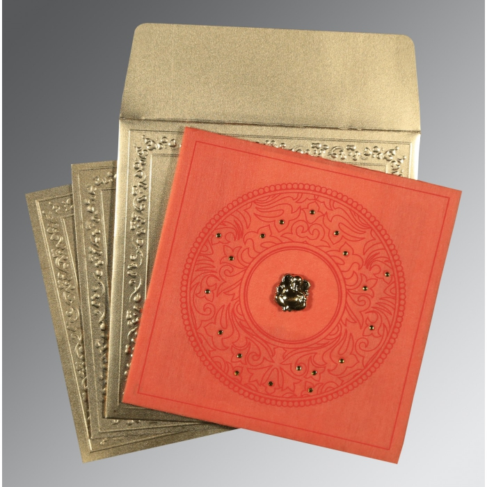 Orange Wooly Screen Printed Wedding Card : CW-8214C - IndianWeddingCards