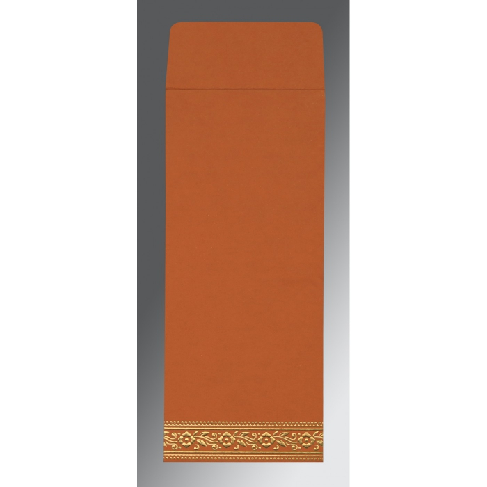 Orange Wooly Screen Printed Wedding Invitation : CW-8220C - IndianWeddingCards
