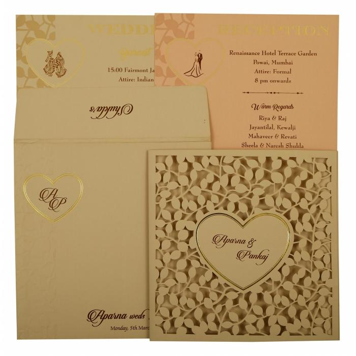 Peach Matte Floral Themed - Laser Cut Wedding Invitation : CW-1927 - IndianWeddingCards