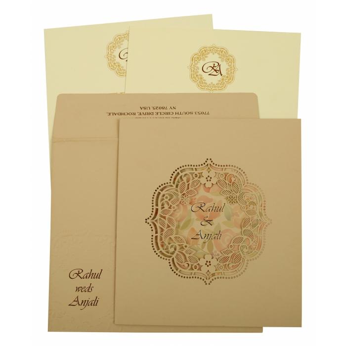 Peach Matte Laser Cut Wedding Invitation : CD-1857 - IndianWeddingCards