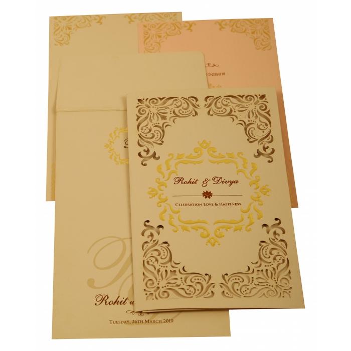 Peach Matte Laser Cut Wedding Invitation : CIN-1909 - IndianWeddingCards