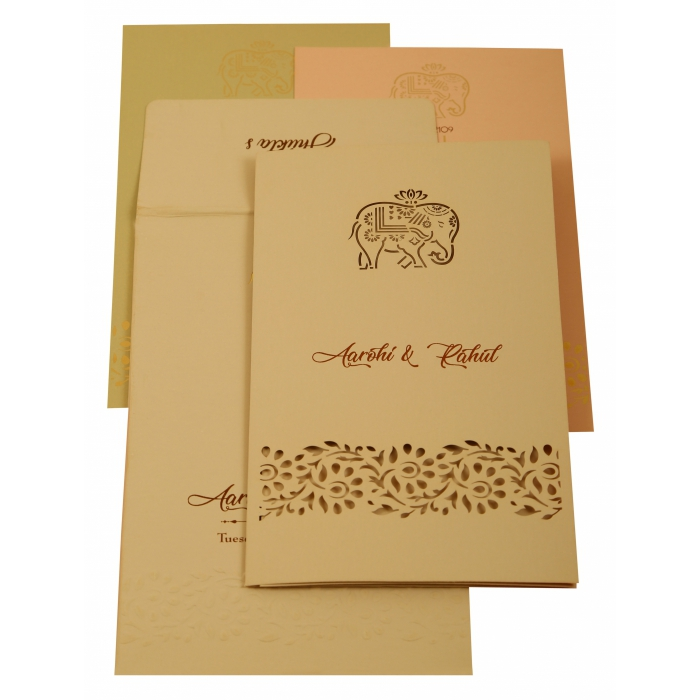 Peach Matte Laser Cut Wedding Invitation : CW-1923 - IndianWeddingCards