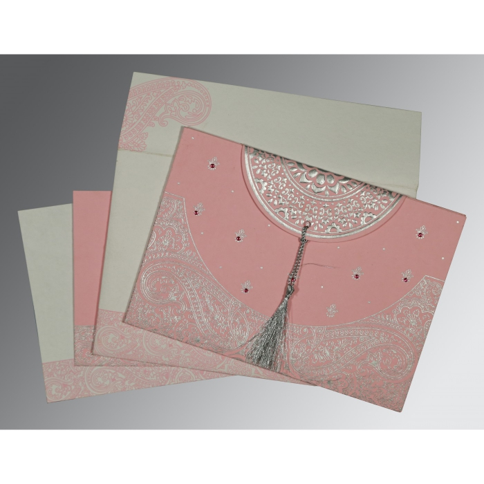 Pink Handmade Cotton Embossed Wedding Card : CW-8234G - IndianWeddingCards