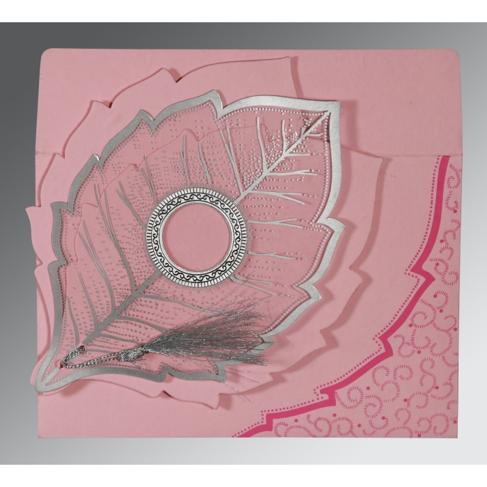Pink Handmade Cotton Floral Themed - Foil Stamped Wedding Card : CI-8219K - IndianWeddingCards