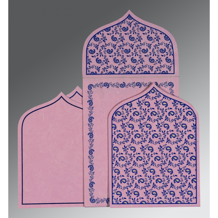 Pink Handmade Silk Paisley Themed - Glitter Wedding Invitation : CI-8208J - IndianWeddingCards