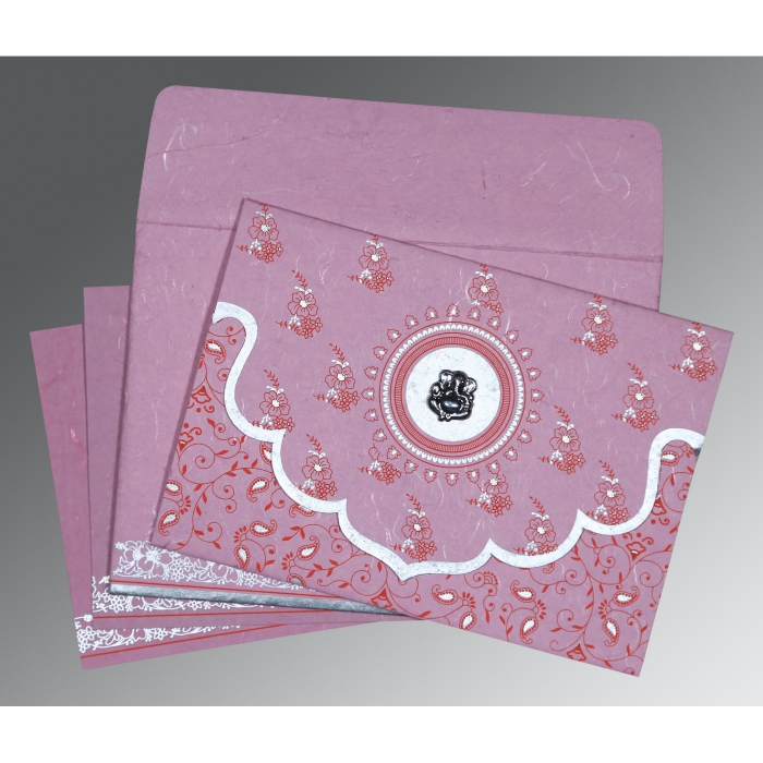 Pink Handmade Silk Screen Printed Wedding Invitation : CIN-8207K - IndianWeddingCards