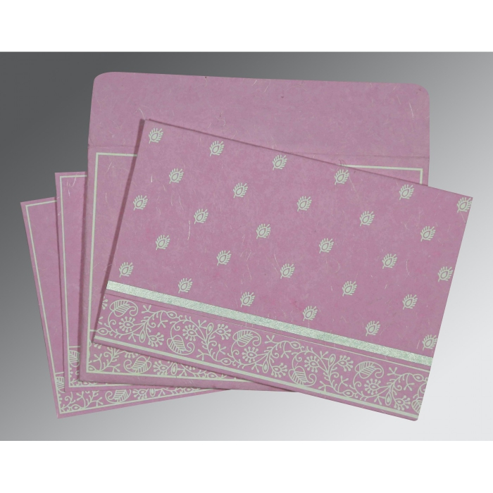 Pink Handmade Silk Screen Printed Wedding Card : CIN-8215J - IndianWeddingCards