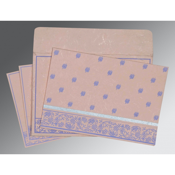 Pink Handmade Silk Screen Printed Wedding Card : CW-8215M - IndianWeddingCards
