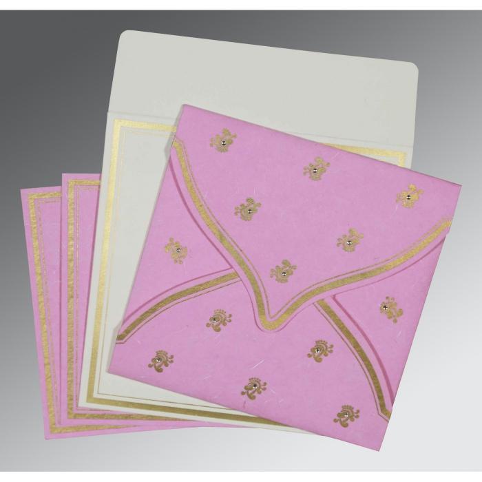 Pink Handmade Silk Unique Themed - Screen Printed Wedding Card : CW-8203H - IndianWeddingCards
