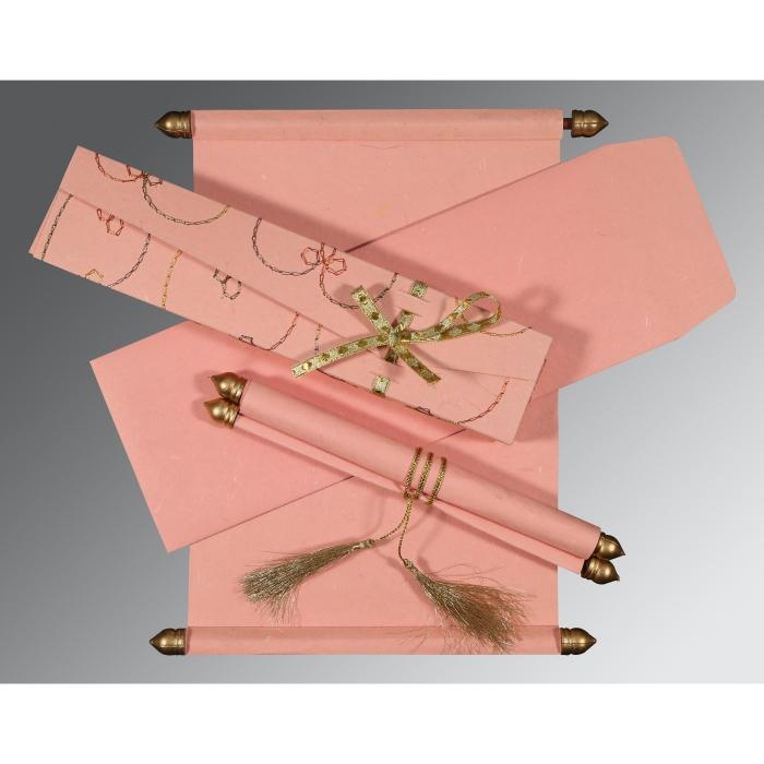Pink Handmade Silk Wedding Card : CSC-5002M - IndianWeddingCards