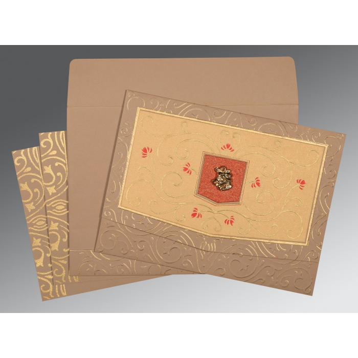 Pink Matte Embossed Wedding Card : CC-1394 - IndianWeddingCards