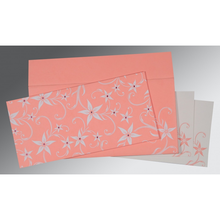 Pink Matte Floral Themed - Screen Printed Wedding Invitation : CS-8225M - IndianWeddingCards