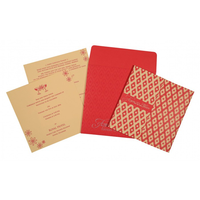 Pink Matte Screen Printed Wedding Invitation : CD-8263E - IndianWeddingCards