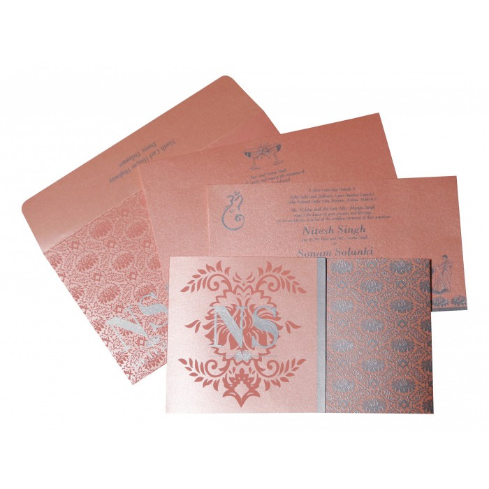 Pink Shimmery Damask Themed - Screen Printed Wedding Invitation : CS-8261D - IndianWeddingCards