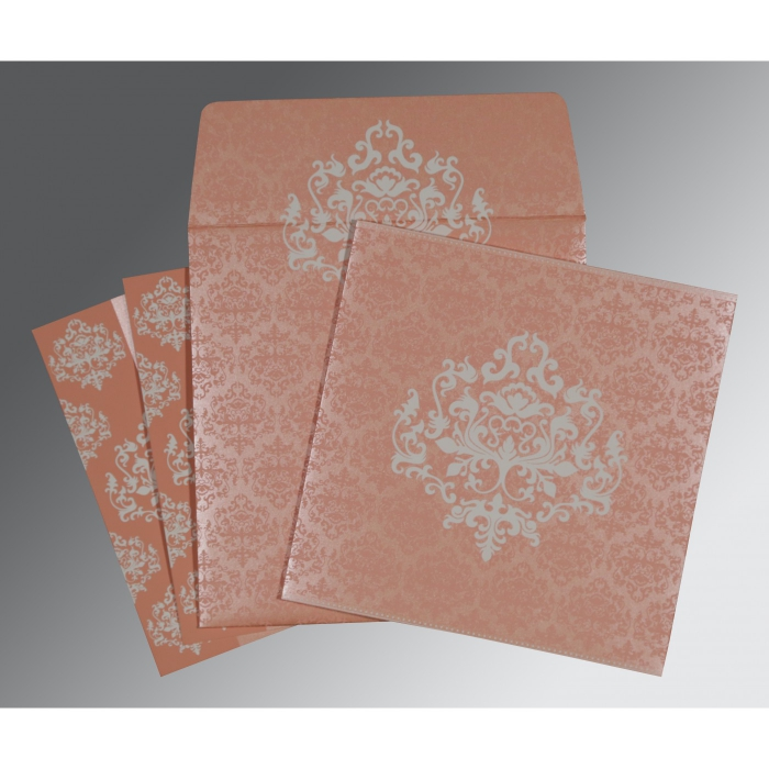 Pink Shimmery Damask Themed - Screen Printed Wedding Card : CW-8254G - IndianWeddingCards