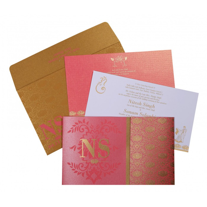 Pink Shimmery Damask Themed - Screen Printed Wedding Invitation : CW-8261B - IndianWeddingCards