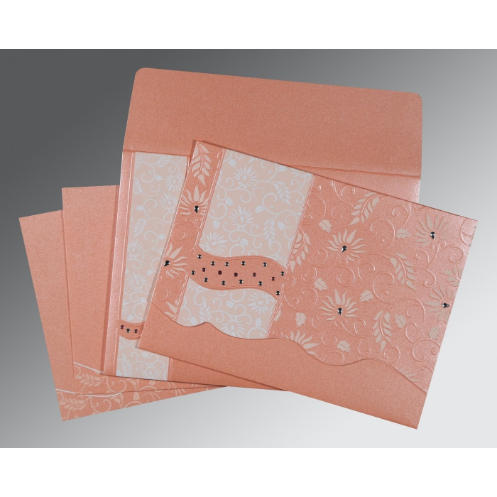 Pink Shimmery Floral Themed - Embossed Wedding Invitation : CIN-8236A - IndianWeddingCards