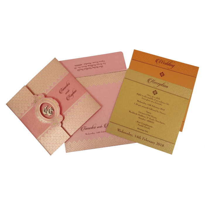 Pink Shimmery Floral Themed - Foil Stamped Wedding Invitation : CW-1772 - IndianWeddingCards