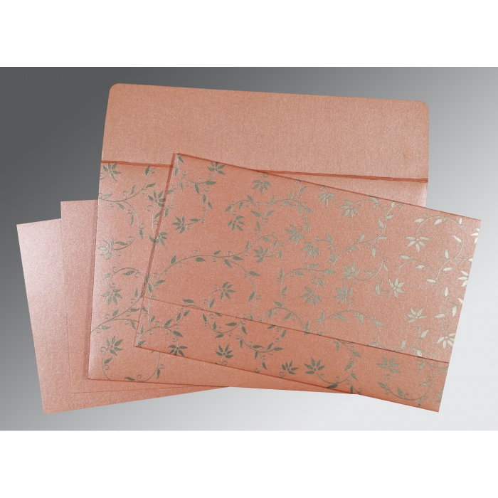 Pink Shimmery Floral Themed - Screen Printed Wedding Invitation : CD-8226B - IndianWeddingCards