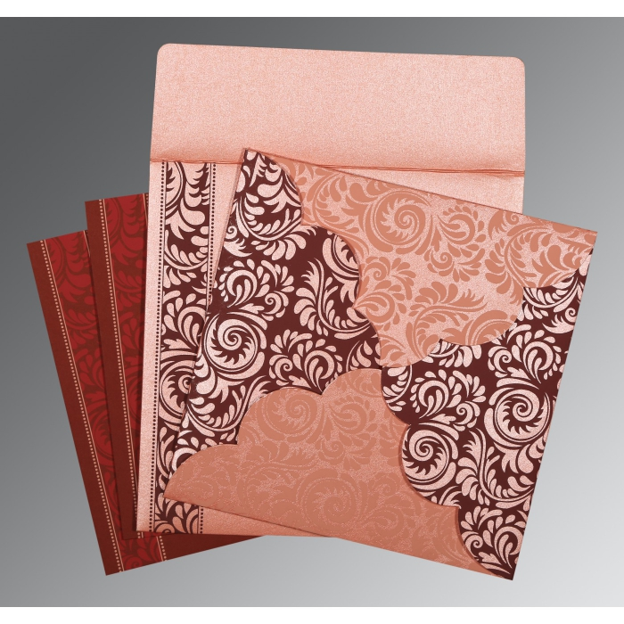 Pink Shimmery Floral Themed - Screen Printed Wedding Card : CW-8235D - IndianWeddingCards