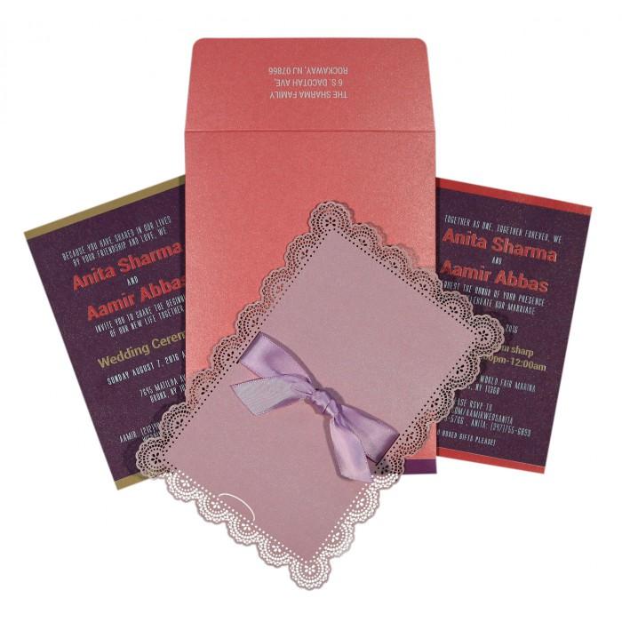 Pink Shimmery Laser Cut Wedding Invitation : CIN-1589 - IndianWeddingCards
