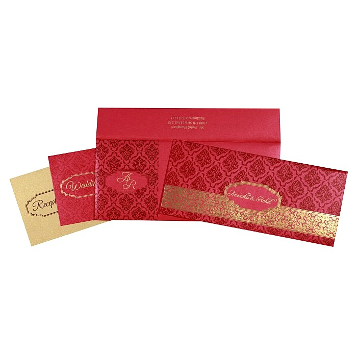 Pink Shimmery Paisley Themed - Foil Stamped Wedding Card : CW-1758 - IndianWeddingCards