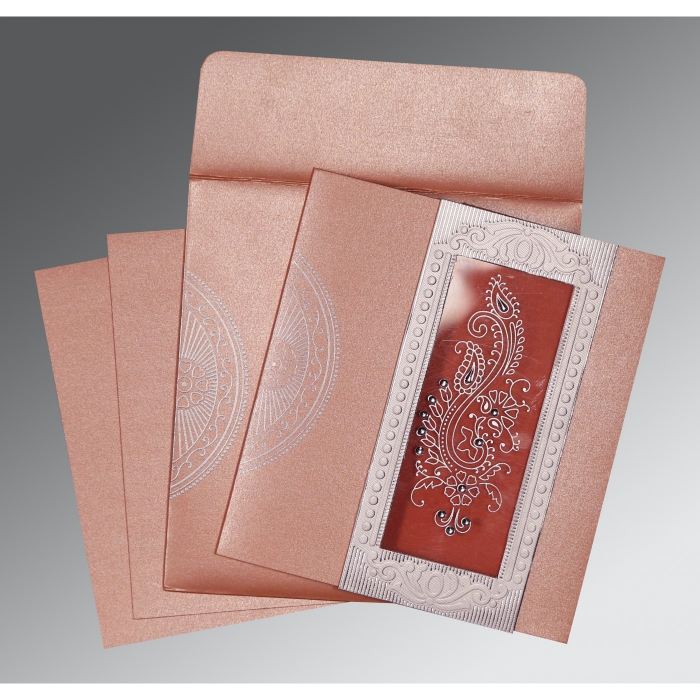 Pink Shimmery Paisley Themed - Foil Stamped Wedding Invitation : CW-8230A - IndianWeddingCards