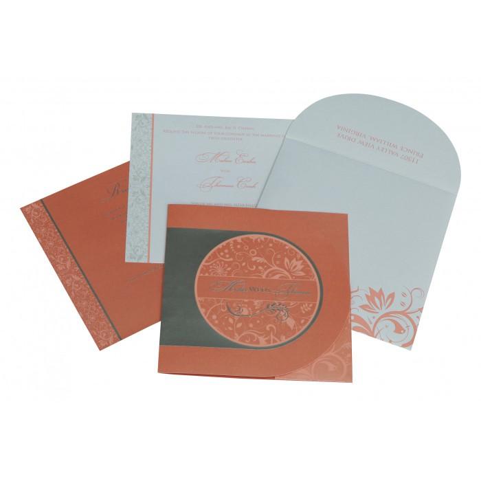 Pink Shimmery Paisley Themed - Screen Printed Wedding Card : CRU-8264A - IndianWeddingCards