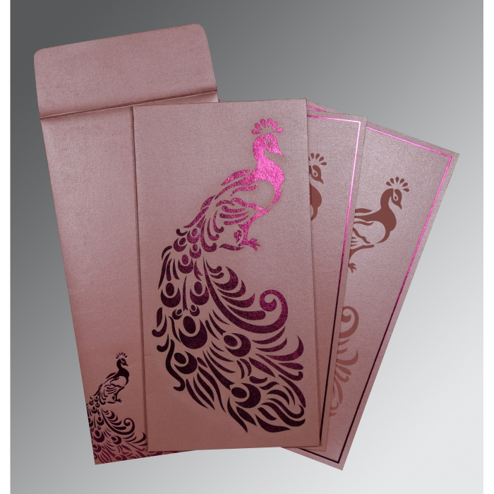 Pink Shimmery Peacock Themed - Laser Cut Wedding Invitation : CD-8255B - IndianWeddingCards