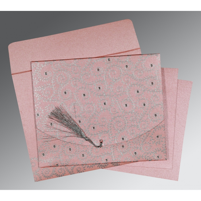 Pink Shimmery Screen Printed Wedding Invitation : CD-8217E - IndianWeddingCards