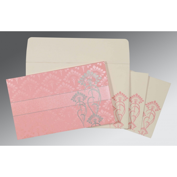Pink Shimmery Screen Printed Wedding Card : CD-8239J - IndianWeddingCards