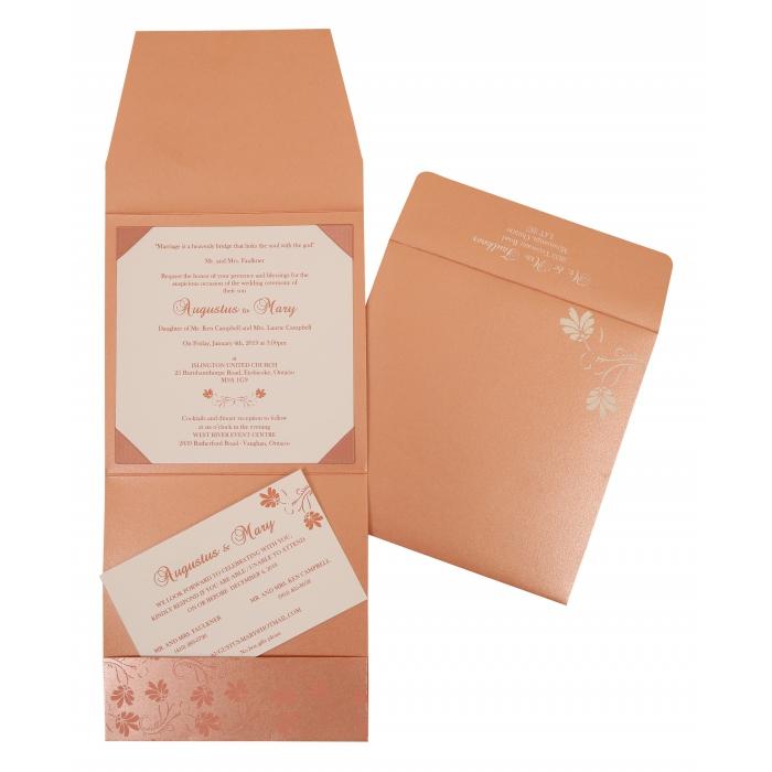 Pink Shimmery Screen Printed Wedding Invitation : CI-803C - IndianWeddingCards