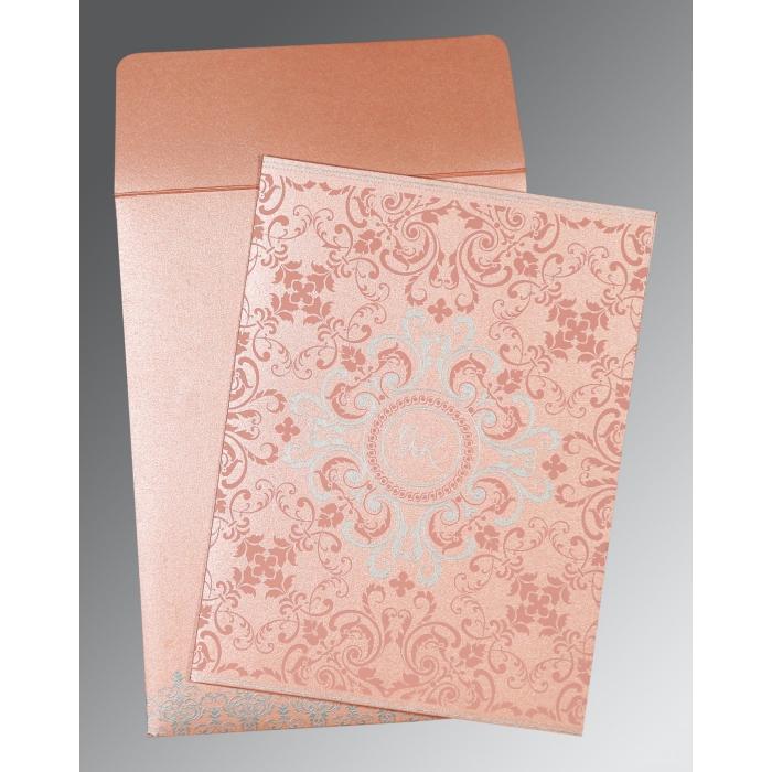 Pink Shimmery Screen Printed Wedding Card : CI-8244A - IndianWeddingCards