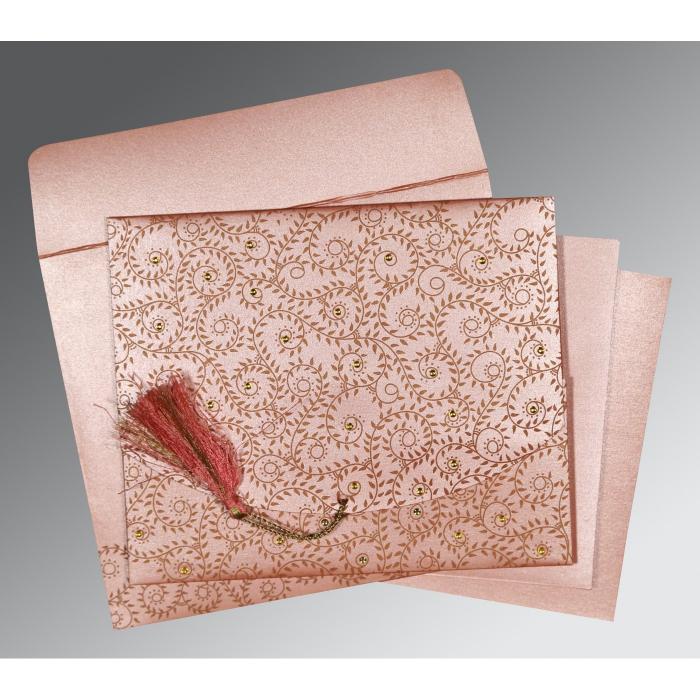 Pink Shimmery Screen Printed Wedding Invitation : CW-8217N - IndianWeddingCards