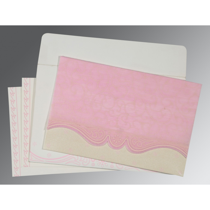 Pink Wooly Embossed Wedding Invitation : CD-8221M - IndianWeddingCards