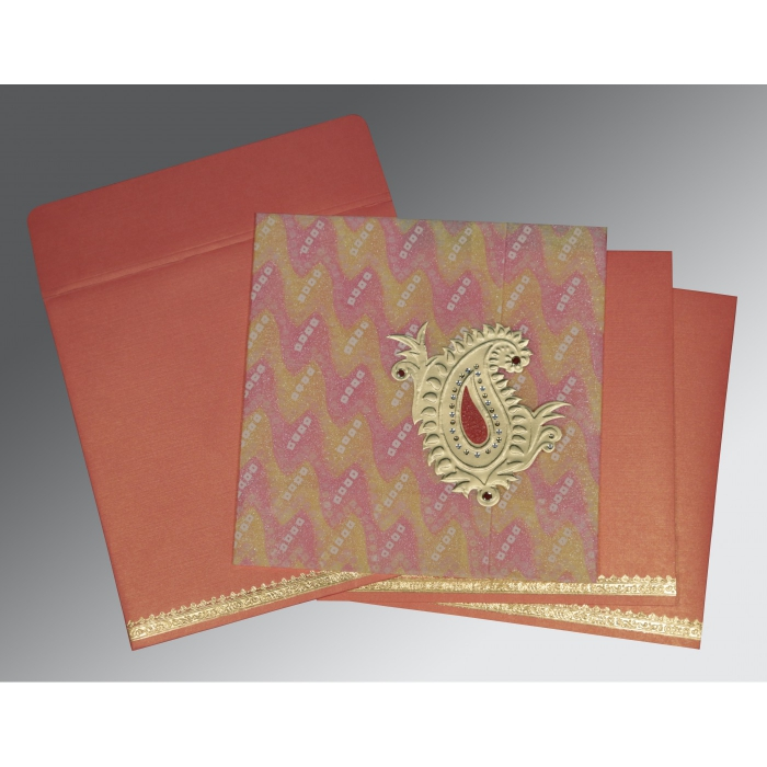 Pink Wooly Embossed Wedding Invitation : CI-1324 - IndianWeddingCards