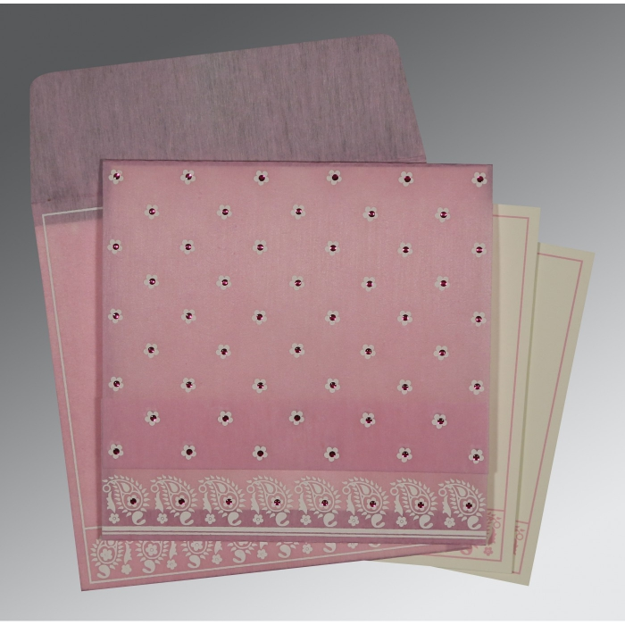 Pink Wooly Floral Themed - Screen Printed Wedding Card : CIN-8218J - IndianWeddingCards