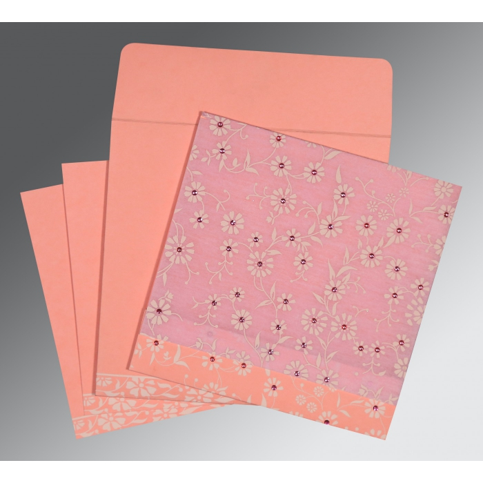 Pink Wooly Floral Themed - Screen Printed Wedding Card : CS-8222E - IndianWeddingCards