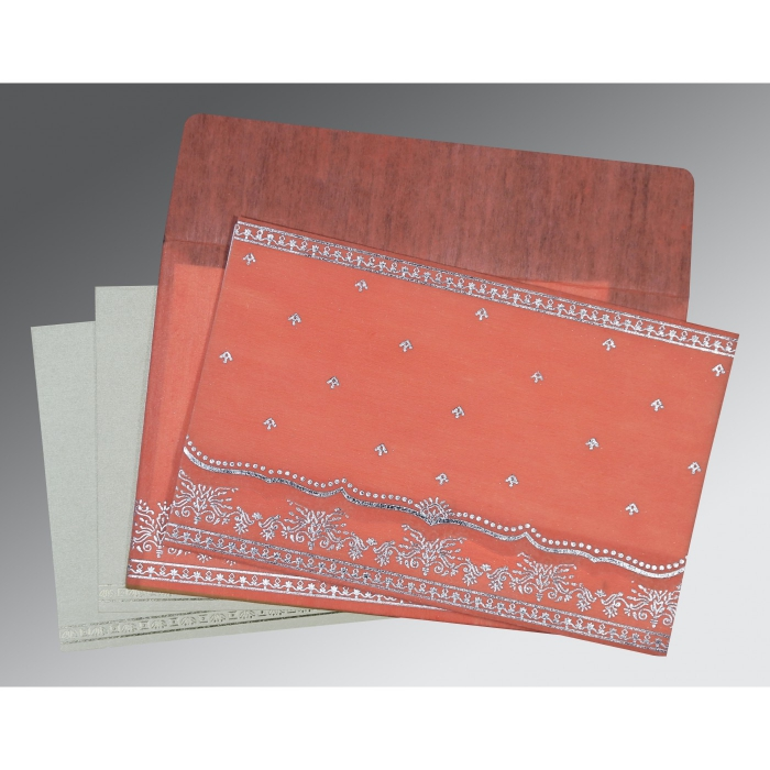 Pink Wooly Foil Stamped Wedding Invitation : CD-8241G - IndianWeddingCards