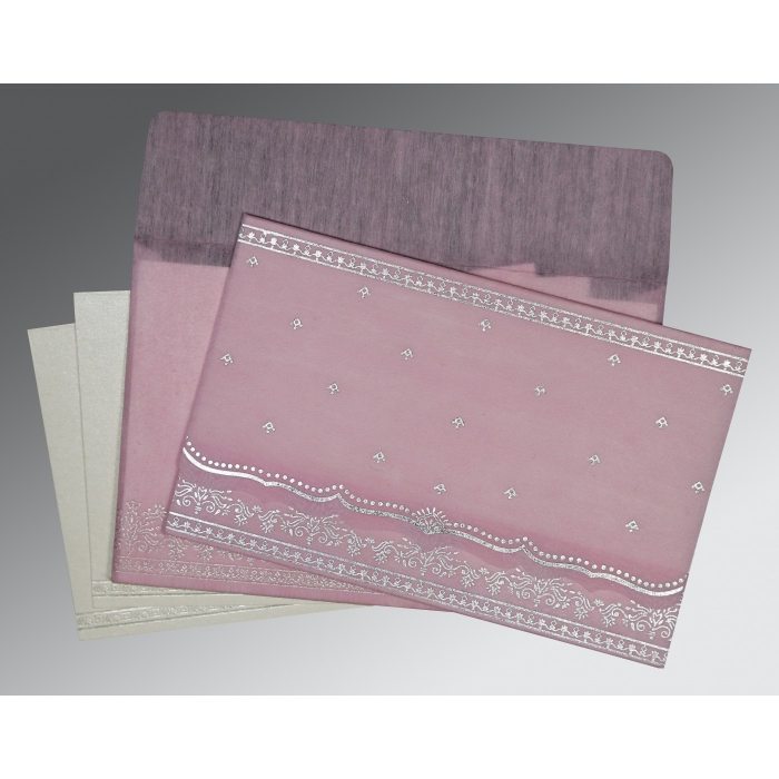 Pink Wooly Foil Stamped Wedding Invitation : CW-8241E - IndianWeddingCards