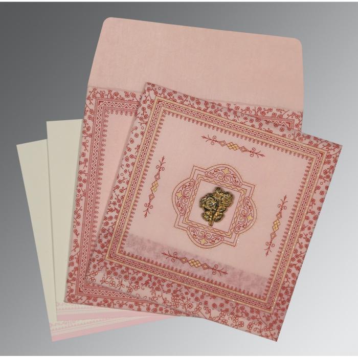 Pink Wooly Glitter Wedding Card : CI-8205J - IndianWeddingCards