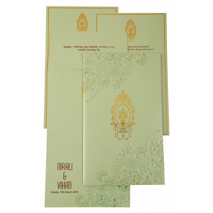 Pista Green Shimmery Floral Themed - Foil Stamped Wedding Invitation : CW-1905 - IndianWeddingCards