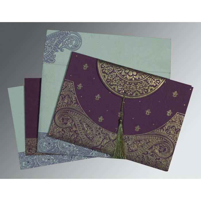 Purple Handmade Cotton Embossed Wedding Card : CD-8234D - IndianWeddingCards